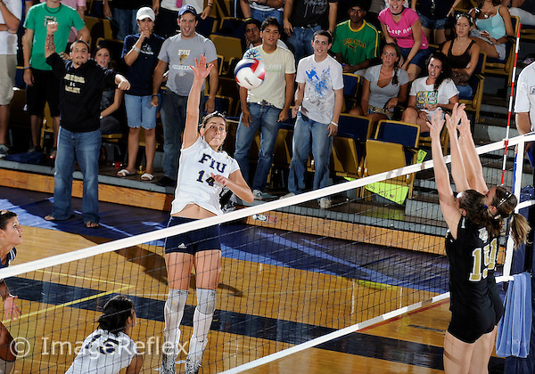 Florida International University women's volleyball player Isadora Rangel (14) plays against the University of Central Florida.  FIU won the match 3-0 (25-23, 25-17, 25 -19)  on September 12, 2008 at Miami, Florida. .