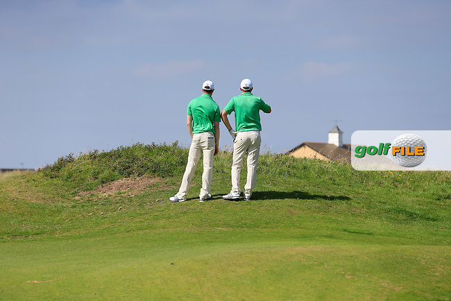 Stuart Grehan and  Paul McBride (IRL) during the Home Internationals day 2 foursomes matches supported by Fairstone Financial Management Ltd. at Royal Portrush Golf Club, Portrush, Co.Antrim, Ireland.  13/08/2015.<br /> Picture: Golffile | Fran Caffrey<br /> <br /> <br /> All photo usage must carry mandatory copyright credit (&copy; Golffile | Fran Caffrey)