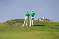 Stuart Grehan and  Paul McBride (IRL) during the Home Internationals day 2 foursomes matches supported by Fairstone Financial Management Ltd. at Royal Portrush Golf Club, Portrush, Co.Antrim, Ireland.  13/08/2015.<br /> Picture: Golffile   Fran Caffrey<br /> <br /> <br /> All photo usage must carry mandatory copyright credit (© Golffile   Fran Caffrey)