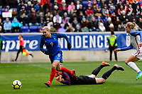 Harrison, NJ - Sunday March 04, 2018: Eugénie Le Sommer, Alyssa Naeher during a 2018 SheBelieves Cup match match between the women's national teams of the United States (USA) and France (FRA) at Red Bull Arena.