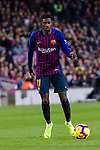 Ousmane Dembele of FC Barcelona in action against Santi Cazorla of Villarreal (R) during the La Liga 2018-19 match between FC Barcelona and Villarreal at Camp Nou on 02 December 2018 in Barcelona, Spain. Photo by Vicens Gimenez / Power Sport Images