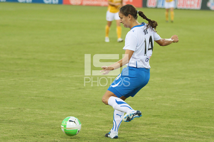 Stephanie Cox (14) of the Boston Breakers. The Boston Breakers defeated the Atlanta Beat 3-1 during a Women's Professional Soccer (WPS) match at KSU Atlanta Beat Stadium Kennesaw, GA, on August 28, 2010.