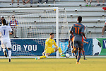 01 June 2016: Charlotte's Cody Mizell (in yellow) makes a save. The Carolina RailHawks hosted the Charlotte Independence at WakeMed Stadium in Cary, North Carolina in a 2016 Lamar Hunt U.S. Open Cup third round game. The RailHawks won 5-0 after extra time after regulation ended in a 0-0 tie.