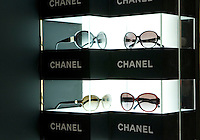 Glasses in Chanel boutique in Peninsula hotel in Shanghai, on December 3, 2009. Chanel's Peninsula hotel boutique is the largest Chanel store in China and was opened on December 3. Photo by Lucas Schifres/Pictobank