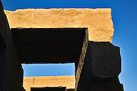 Architectural details in morning sunlight, Temple of Karnak, modern day Luxor or ancient Thebes, Egypt