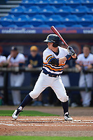 Canisius College Golden Griffins center fielder John Conti (23) at bat during the first game of a doubleheader against the Michigan Wolverines on February 20, 2016 at Tradition Field in St. Lucie, Florida.  Michigan defeated Canisius 6-2.  (Mike Janes/Four Seam Images)