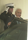 Prime Minister Ariel Sharon of Israel departs from the White House in Washington, D.C. after talks with United States President George W. Bush on Tuesday, March 20, 2001..Credit: Ron Sachs / CNP