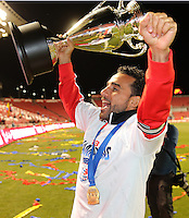 Dwayne De Rosario #7 of D.C. United celebrate their win with the trophy over of Real Salt Lake art the U.S. Open Cup Final on October  1, 2013 at Rio Tinto Stadium in Sandy, Utah. DC United beat Real Salt Lake 1-0 to win the championship.