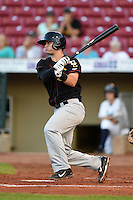 Quad Cities River Bandits third baseman J.D. Davis (36) at bat during a game against the Cedar Rapids Kernels on August 18, 2014 at Perfect Game Field at Veterans Memorial Stadium in Cedar Rapids, Iowa.  Cedar Rapids defeated Quad Cities 5-3.  (Mike Janes/Four Seam Images)