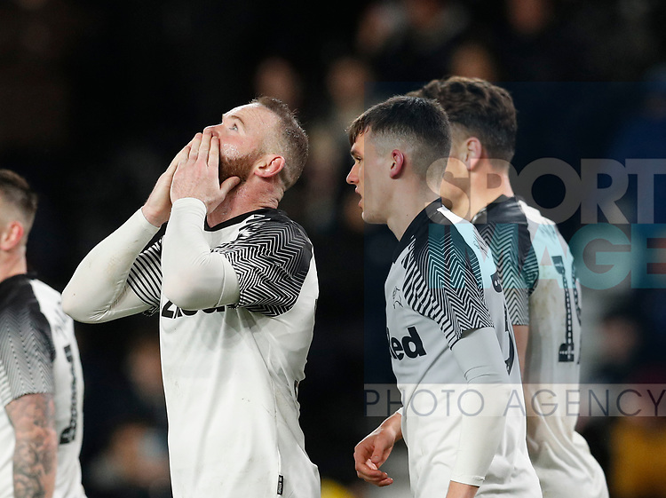 Wayne Rooney of Derby County celebrates scoring the fourth goal during the FA Cup match at the Pride Park Stadium, Derby. Picture date: 4th February 2020. Picture credit should read: Darren Staples/Sportimage