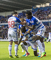 Teammates celebrate with goal scorer Modou Barrow of Reading during the Sky Bet Championship match between Reading and Aston Villa at the Madejski Stadium, Reading, England on 15 August 2017. Photo by Andy Rowland / PRiME Media Images.<br /> **EDITORIAL USE ONLY FA Premier League and Football League are subject to DataCo Licence.