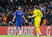 Diego Costa of Chelsea asked questions of Goalkeeper Iker Casillas of FC Porto after an earlier incident during the UEFA Champions League group G match between Chelsea and FC Porto at Stamford Bridge, London, England on 9 December 2015. Photo by Andy Rowland.
