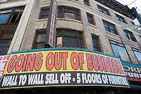 Out of business furniture store's space is for rent in the Downtown Brooklyn neighborhood in New York on Saturday March 10, 2012.  (© Richard B. Levine)