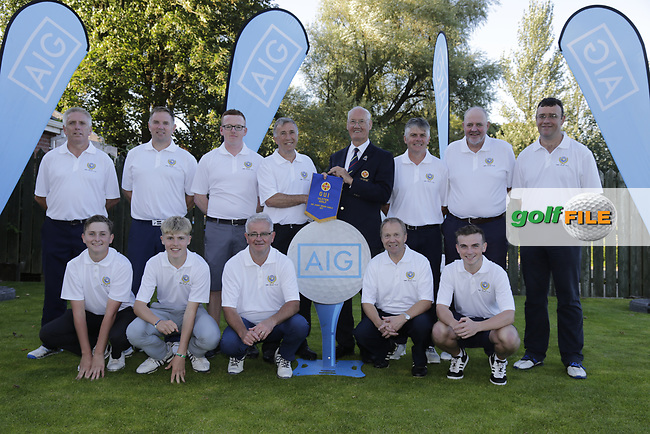 Eamon O'Connor Chairperson GUI Ulster Golf presents warren point golf club team winners of the final of the AIG Jimmy Bruenl at Dungannon Golf Club, Dungannon, Tyrone, Ireland. 11/08/2017<br /> Picture: Fran Caffrey / Golffile