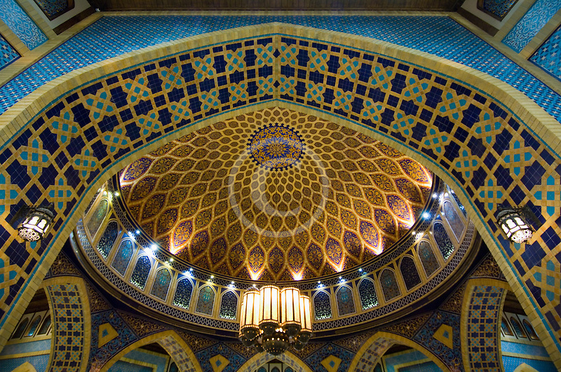 United Arab Emirates, Dubai, Ibn Battuta Shopping Mall, arched ceiling with decorative tiles