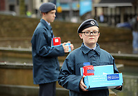 Pictured: Two young cadets with poppy appeal fundraising boxes. Saturday 11 November 2017<br />Re: Armistice Day, two minutes were observed to mark remembrance at Castle Square in Swansea, Wales, UK.