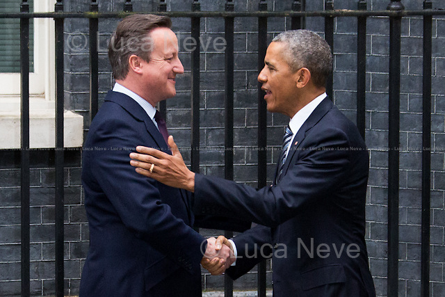 "London, 22/04/2016. The President of the United States of America, Barack Obama, meets the British Prime Minister David Cameron at 10 Downing Street during the second day of a three-day State visit to the UK. Amongst the topics of the bilateral talks: the Anglo-American efforts to combat ISIS, the Migrants Crisis, the ""Special Relationship"" between the two Countries, and the so called Brexit, in other words the upcoming referendum hold the 23rd of June 2016 over whether the UK should remain in the European Union. Barack Obama released his point of view of the Brexit on an article written for British newspaper The Telegraph (21st of April 2016) that you can find here: http://www.telegraph.co.uk/news/2016/04/21/as-your-friend-let-me-tell-you-that-the-eu-makes-britain-even-gr/"