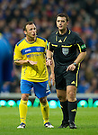 Rangers v St Johnstone...19.11.11   Scottish Premier League.Jody Morris pleads with ref Euan Norris.Picture by Graeme Hart..Copyright Perthshire Picture Agency.Tel: 01738 623350  Mobile: 07990 594431