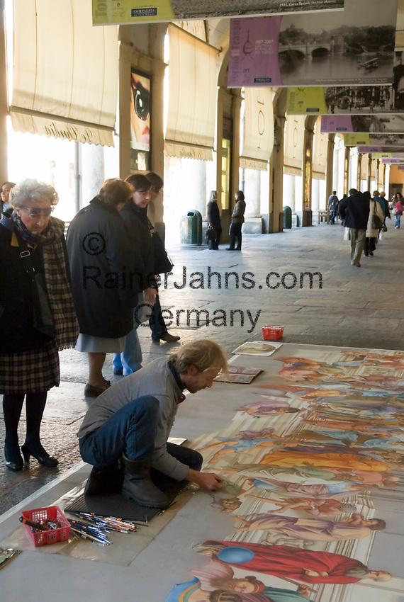 Italien, Piemont, Hauptstadt Turin: Via Roma, Pflastermaler   Italy, Piedmont, capital Torino: Via Roma, screever, pavement artist