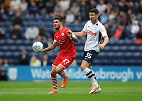 Barnsley's Alex Mowatt under pressure from Preston North End's David Nugent<br /> <br /> Photographer Kevin Barnes/CameraSport<br /> <br /> The EFL Sky Bet Championship - Preston North End v Barnsley - Saturday 5th October 2019 - Deepdale Stadium - Preston<br /> <br /> World Copyright © 2019 CameraSport. All rights reserved. 43 Linden Ave. Countesthorpe. Leicester. England. LE8 5PG - Tel: +44 (0) 116 277 4147 - admin@camerasport.com - www.camerasport.com