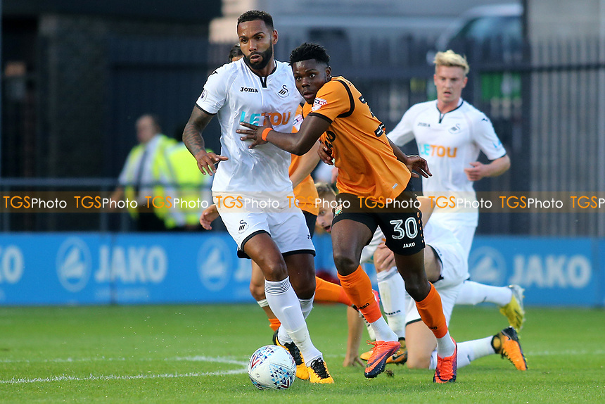 Barnet's Justin Amaluzor takes on the Swansea City defence during Barnet vs Swansea City, Friendly Match Football at the Hive Stadium on 12th July 2017