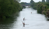 25 MAY 2014 - BRIGG, GBR - Steve King (GBR) of Great Britain leads Stefan Teichert (GER) of Germany along the River Ancholme during the kayak at the World Quadrathlon Federation 2014 Middle Distance World Championships at the Brigg Bomber in Brigg, Lincolnshire in Great Britain (PHOTO COPYRIGHT © 2014 NIGEL FARROW, ALL RIGHTS RESERVED)