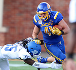 BROOKINGS, SD - SEPTEMBER 10:  Justin Maratik #41 from South Dakota State tries to slip past Jabari Butler #15 from Drake during their game at the Dana J. Dykhouse Stadium Saturday night in Brookings. (Photo by Dave Eggen/Inertia)