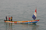 Pirogue - traditional fishing boat outside Conakry, Guinea in West Africa