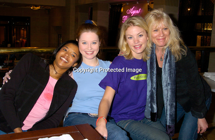 Renee Goldsberry, Melissa Archer and Bree Williamson and Ilene Kristen..at Bendels for Peacekeeper Cause-metics  on February 7, 2004. The soap stars gave manicures to fans. Photo by Robin Platzer, Twin Images
