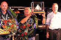 SKÛTSJESILEN: LEMMER: 08-08-2015, IFKS skûtsjesilen, Tonny Brundel met het skûtsje 'de Lytse Lies' (Gaastmeer) kampioen in de A klasse, ©foto Martin de Jong