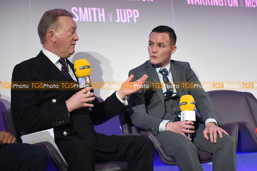 Boxer Josh Warrington (R) and promoter Frank Warren during a BT Sport Press Conference at the BT Tower on 23rd January 2017