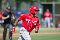 Cincinnati Reds outfielder Reshard Munroe (92) hustles to first base during an Instructional League game against the Los Angeles Dodgers on September 26, 2017 at Camelback Ranch in Glendale, Arizona. (Zachary Lucy/Four Seam Images)