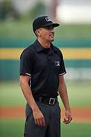 Umpire Luis Avalos before an Arizona League game between the AZL Giants Orange and the AZL Cubs 1 on July 10, 2019 at Sloan Park in Mesa, Arizona. The AZL Giants Orange defeated the AZL Cubs 1 13-8. (Zachary Lucy/Four Seam Images)