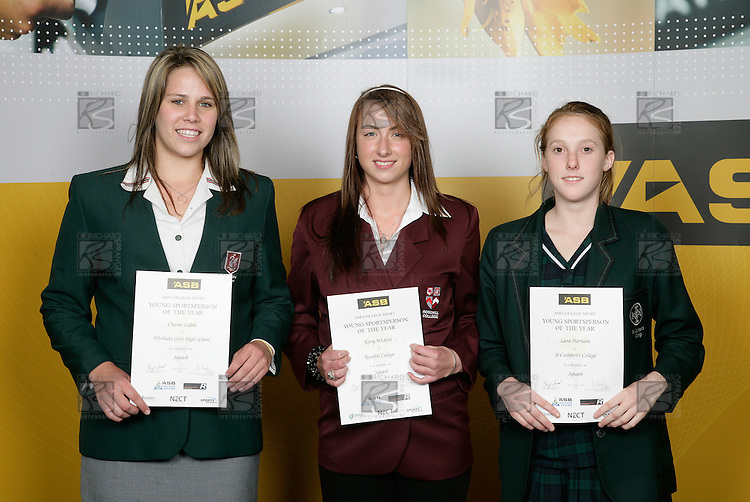 Squah Girls Finalists. ASB College Sport Young Sportsperson of the Year Awards 2006, held at Eden Park on Thursday 16th of November 2006.<br />