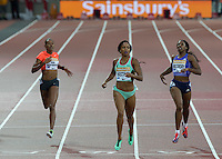 Natasha HASTINGS (Centre) of USA (Women's 400m) wins the race during the Sainsburys Anniversary Games Athletics Event at the Olympic Park, London, England on 24 July 2015. Photo by Andy Rowland.