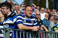 A Bath Rugby supporter in the crowd looks on at half-time. Heineken Champions Cup match, between Bath Rugby and Stade Toulousain on October 13, 2018 at the Recreation Ground in Bath, England. Photo by: Patrick Khachfe / Onside Images