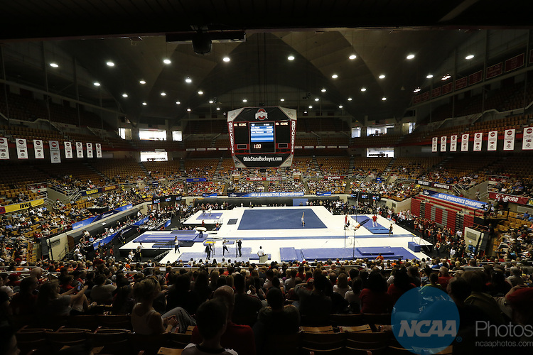 16 APR 2016:  Gymnasts compete during the Division I Men's Gymnastics Championship held at St. John Arena on the Ohio State University campus in Columbus, OH. Oklahoma won the national title. Jay LaPrete/NCAA Photos