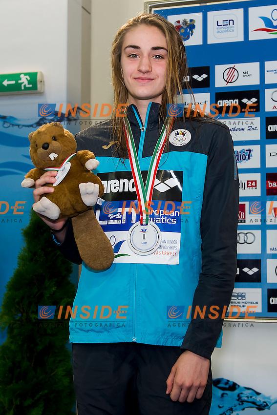 Salcutan Tatiana MDA<br /> 200 Backstroke Women Final Silver Medal<br /> LEN 43rd Arena European Junior Swimming Championships<br /> Hodmezovasarhely, Hungary <br /> Day02 07-07-2016<br /> Photo Andrea Masini/Deepbluemedia/Insidefoto