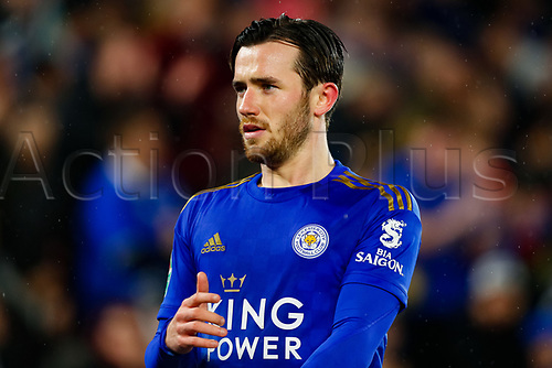 8th January 2020; King Power Stadium, Leicester, Midlands, England; English Football League Cup Football, Carabao Cup, Leicester City versus Aston Villa; Ben Chilwell of Leicester City - Strictly Editorial Use Only. No use with unauthorized audio, video, data, fixture lists, club/league logos or 'live' services. Online in-match use limited to 120 images, no video emulation. No use in betting, games or single club/league/player publications