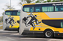 Close up of two buses. Buses are an alternative to flying from Kuala Lumpur to Singapore. Malaysia
