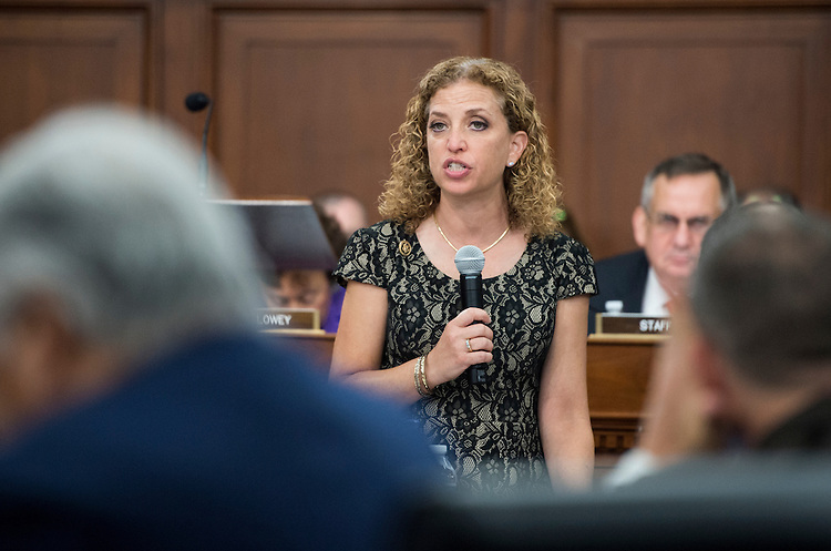 UNITED STATES - JUNE 16: Rep. Debbie Wasserman Schultz, D-Fla., speaks during the House Appropriations Committee markup of the FY2016 Interior and Environment Appropriations bill on Tuesday, June 16, 2015. (Photo By Bill Clark/CQ Roll Call)