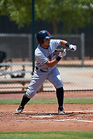AZL Indians Red Jothson Flores (9) at bat during an Arizona League game against the AZL Indians Blue on July 7, 2019 at the Cleveland Indians Spring Training Complex in Goodyear, Arizona. The AZL Indians Blue defeated the AZL Indians Red 5-4. (Zachary Lucy/Four Seam Images)