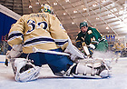 Dec. 12, 2010; Goalie Mike Johnson makes a save...Photo by Matt Cashore/University of Notre Dame..