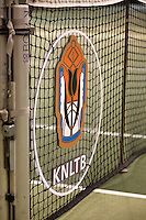 Hilversum, The Netherlands, 05.03.2014. NOVK ,Nat.Indoor Veterans Championships of 2014, KNLTB logo in net<br /> Photo:Tennisimages/Henk Koster