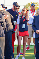 Dustin Johnson (USA) and his fiancee Paulina Gretzky await the trophy presentation following round 4 Singles of the 2017 President's Cup, Liberty National Golf Club, Jersey City, New Jersey, USA. 10/1/2017. <br /> Picture: Golffile | Ken Murray<br /> <br /> All photo usage must carry mandatory copyright credit (&copy; Golffile | Ken Murray)