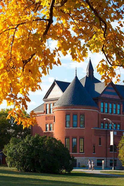 Fall colors frame Morrill Hall on the campus of Iowa State University in Ames, Iowa. (Christopher Gannon/Gannon Visuals)