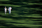 AUGUSTA, GA: APRIL 10 - Matt Every walks down the second fairway with his caddie during the first round of the 2014 Masters held in Augusta, GA at Augusta National Golf Club on Thursday, April 10, 2014. (Photo by Donald Miralle)