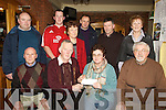 CHEQUE: A presentation of cheque of EUR1,152 which was raised from Meenoghane Christmas Day Swim committee and was handed over to Marian Hussey Treasurer of Causeway Comhaltes Cleadh committee on Saturday night at Hopper Inn, Causeway. Front l-r: Johnny O'Connell (branch chairman), Michael Casey (swim committee), marian Hussey and John Canty (chairman Fleadh Committee). Back l-r: Philip O'Dwyer, Michea?l Casey, Geraldine Quilter, John Leen (secretary fleadh committee), Liam Leen (swim committee) and Doreen Egan (branch secretary). Missing was James Meehan...... ....