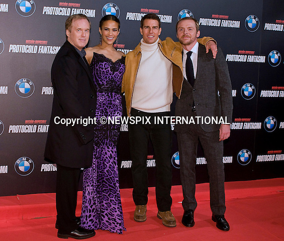"""BRAD BIRD, PAULA PATTON,TOM CRUISE AND SIMON PEGG.attends the premiere of his latest film 'Mission: Impossible - Ghost Protocol'Madrid, Spain_12/12/2011.Mandatory Credit Photo: ©NEWSPIX INTERNATIONAL..                 **ALL FEES PAYABLE TO: """"NEWSPIX INTERNATIONAL""""**..IMMEDIATE CONFIRMATION OF USAGE REQUIRED:.Newspix International, 31 Chinnery Hill, Bishop's Stortford, ENGLAND CM23 3PS.Tel:+441279 324672  ; Fax: +441279656877.Mobile:  07775681153.e-mail: info@newspixinternational.co.uk"""