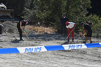 Pictured: Special forensics police officers search a field in Kos, Greece. Wednesday 28 September 2016<br /> Re: Police teams searching for missing toddler Ben Needham on the Greek island of Kos have said they are &quot;optimistic&quot; about new excavation work.<br /> Ben, from Sheffield, was 21 months old when he disappeared on 24 July 1991 during a family holiday.<br /> Digging has begun at a new site after a fresh line of inquiry suggested he could have been crushed by a digger.<br /> South Yorkshire Police (SYP) said it continued to keep an &quot;open mind&quot; about what happened to Ben. Pictured: Special forensics police officers search a field in Kos, Greece. Thursday 29 September 2016<br /> Re: Police teams searching for missing toddler Ben Needham on the Greek island of Kos have said they are &quot;optimistic&quot; about new excavation work.<br /> Ben, from Sheffield, was 21 months old when he disappeared on 24 July 1991 during a family holiday.<br /> Digging has begun at a new site after a fresh line of inquiry suggested he could have been crushed by a digger.<br /> South Yorkshire Police (SYP) said it continued to keep an &quot;open mind&quot; about what happened to Ben.